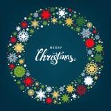 Boże Narodzenia i nowy rok karta z płatkami śniegu czerwonymi i złocistymi Zdjęcia Stock