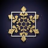 Boże Narodzenia i nowy rok karta z złocistym błyszczącym płatek śniegu w białym f ilustracja wektor