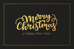 Boże Narodzenia i nowy rok kartki z pozdrowieniami świąteczny projekt z kaligrafii literowaniem i otoczką złocista folia na czarn royalty ilustracja