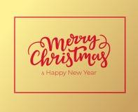 Boże Narodzenia i nowy rok kartki z pozdrowieniami projekt z czerwienią obramiają literowanie i wręczają Typographical świąteczna ilustracji