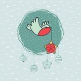 Boże Narodzenia i nowy rok round rama z ptasim symbolem 2007 pozdrowienia karty szczęśliwych nowego roku ilustracja wektor