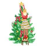 Boże Narodzenia i nowy rok scena z dziewczyną dekoruje świątecznej choinki z numer jeden gwiazdą ilustracja wektor