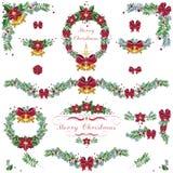 Boże Narodzenia i nowy rok sosna rozgałęziają się ornamenty, ramy, wianek s ilustracja wektor