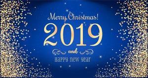 Boże Narodzenia 2019 i nowy rok typographical na błękitnym tle z złocistym fajerwerkiem karciany ilustraci wektoru xmas również z royalty ilustracja