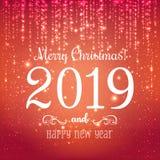 Boże Narodzenia 2019 i nowy rok typographical na błękitnym tle z złocistym fajerwerkiem karciany ilustraci wektoru xmas również z ilustracji