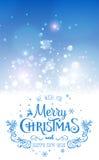 Boże Narodzenia I nowy rok Typographical na błyszczącym Xmas tle z płatkami śniegu, światło, grają główna rolę również zwrócić co ilustracja wektor