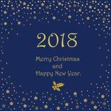 Boże Narodzenia i nowy rok Typographical na błyszczącym Xmas tle z zima krajobrazem z płatkami śniegu, światło, grają główna rolę royalty ilustracja