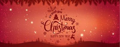 Boże Narodzenia i nowy rok Typographical na błyszczącym Xmas tle z zima krajobrazem z płatkami śniegu, światło, grają główna rolę ilustracja wektor