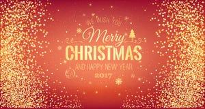 Boże Narodzenia 2017 i nowy rok typographical na czerwonym tle z złocistym fajerwerkiem karciany ilustraci wektoru xmas wektor Obraz Royalty Free