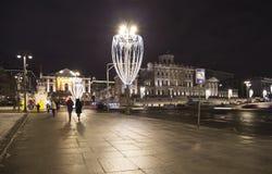 Boże Narodzenia i nowy rok wakacji iluminacja przy nocą, Pashkov dom, Moskwa, Rosja Obraz Stock