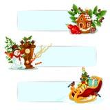 Boże Narodzenia i nowy rok zimy wakacji sztandaru set ilustracji