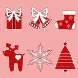 Boże Narodzenia icons-4 dekoracje świąteczne ekologicznego drewna Obrazy Royalty Free