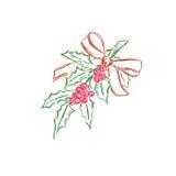 Boże Narodzenia, jemioła, gałąź, odizolowywali biel, tło, nakreślenie, wektorowa ilustracja Zdjęcie Royalty Free