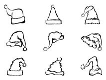 Boże Narodzenia kapeluszowi prosty kontur Zdjęcia Stock