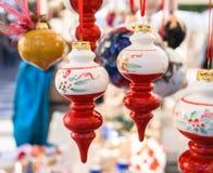 boże narodzenia kopiują dekoracj ostrości złocistego wielkiego ornamentu czerwieni przestrzeni drzewa Zdjęcie Royalty Free