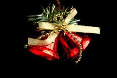 boże narodzenia kopiują dekoracj ostrości złocistego wielkiego ornamentu czerwieni przestrzeni drzewa Odosobniony czarny tło Fotografia Royalty Free