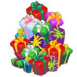 Boże Narodzenia kreślą z stertą prezentów pudełka wiążący z faborkiem z łękiem Próbka plakat, zaproszenie i inny, ilustracja wektor