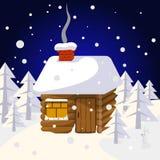 Boże Narodzenia kształtują teren z domem w lasowych drzewach i dzikich zwierzętach Obraz Stock