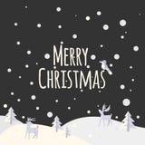 Boże Narodzenia kształtują teren z drzewami i lasów zwierzętami Zdjęcia Royalty Free