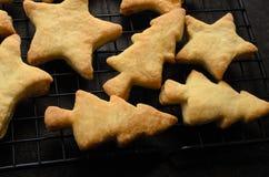 Boże Narodzenia Kształtujący Do domu Zrobili ciastkom Chłodzi na stojaku Zdjęcie Royalty Free