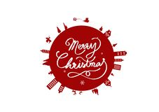 Boże Narodzenia, kula ziemska kółkowy projekt, plakatowy logo sztandaru wektor, cal royalty ilustracja