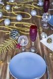 Boże Narodzenia lub dziękczynienia stołowy położenie zdjęcia stock