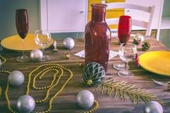 Boże Narodzenia lub dziękczynienia stołowy położenie fotografia royalty free