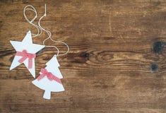 Boże Narodzenia lub nowy rok dekoraci tło biały Fotografia Stock