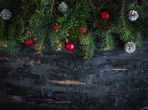 Boże Narodzenia lub nowy rok dekoracji tło, odgórny widok, kopii przestrzeń obraz stock