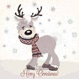 Boże Narodzenia lub nowy rok ilustracja z ślicznym rogaczem royalty ilustracja