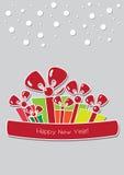 Boże Narodzenia lub nowy rok karta z kolorowymi prezentów pudełkami Zdjęcia Royalty Free