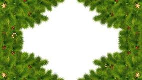 Boże Narodzenia lub nowy rok kaskadowa magiczna przemiana z jodły zielenią rozgałęziają się, świąteczny ornament i cukierek, z Lu ilustracji