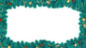 Boże Narodzenia lub nowy rok magii kaskadowa rama z błękitnymi jodeł gałąź świąteczny ornament i cukierek, z Luma matte dla kartk royalty ilustracja