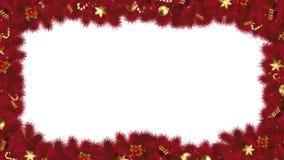 Boże Narodzenia lub nowy rok magii kaskadowa rama z czerwonymi jodeł gałąź świąteczny ornament i cukierek, z Luma matte dla kartk ilustracji
