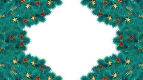 Boże Narodzenia lub nowy rok przemiany kaskadowy magiczny tło z błękitnymi jodeł gałąź świąteczny ornament i cukierek, z Luma mat royalty ilustracja