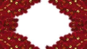 Boże Narodzenia lub nowy rok przemiany kaskadowy magiczny tło z zielonymi jodeł gałąź świąteczny ornament i cukierek, z Luma matt royalty ilustracja
