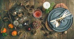 Boże Narodzenia lub nowy rok wigilia wakacje stołu położenia, odgórny widok obrazy royalty free
