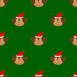 Boże Narodzenia małpują bezszwowego deseniowego tło Obrazy Royalty Free
