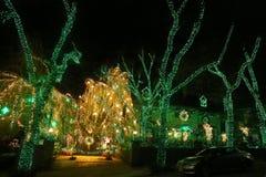 Boże Narodzenia mieścą dekoracj świateł pokazu w podmiejskim Brooklyn sąsiedztwie Dyker wzrosty Obraz Royalty Free