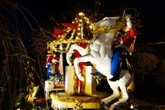 Boże Narodzenia mieścą dekoracj świateł pokazu w podmiejskim Brooklyn sąsiedztwie Dyker wzrosty Obraz Stock