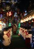 Boże Narodzenia mieścą dekoracj świateł pokazu w podmiejskim Brooklyn sąsiedztwie Dyker wzrosty Zdjęcie Royalty Free