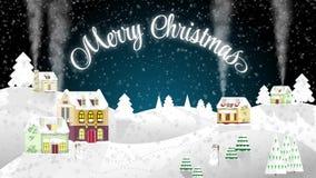 Boże Narodzenia mieścą na tle zimy noc Mieszkanie styl chałupa trochę Wesoło bożych narodzeń materiał filmowy royalty ilustracja