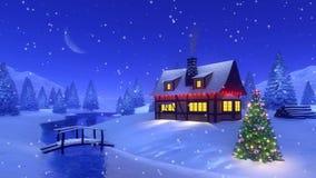 Boże Narodzenia mieścą wysokość w górach Cinemagraph 4K royalty ilustracja