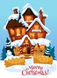 Boże Narodzenia mieścą z Xmas dekoraci kartka z pozdrowieniami ilustracja wektor