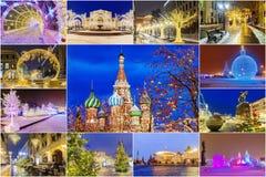 boże narodzenia Moscow Świąteczny kolaż Moskwa przyciągania zdjęcie stock