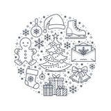 Boże Narodzenia, nowego roku sztandaru ilustracja Wektor kreskowa ikona zima wakacje - choinka, prezenty, płatki śniegu, łyżwy Obraz Stock