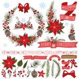 Boże Narodzenia, nowego roku wystrój Poinsecja, świerczyna ilustracja wektor