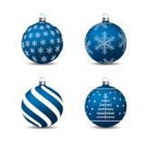 Boże Narodzenia, nowy rok - Błękitni baubles z motywami ilustracji