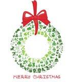 Boże Narodzenia, nowy rok ikony w wianku kształtują, Doodles ilustracja wektor
