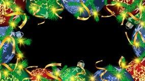 Boże Narodzenia obramiają dla nowy rok piłek, choinek dekoracje i jodła rozgałęzia się złocistych faborki na czerni Wektorowy tło ilustracja wektor